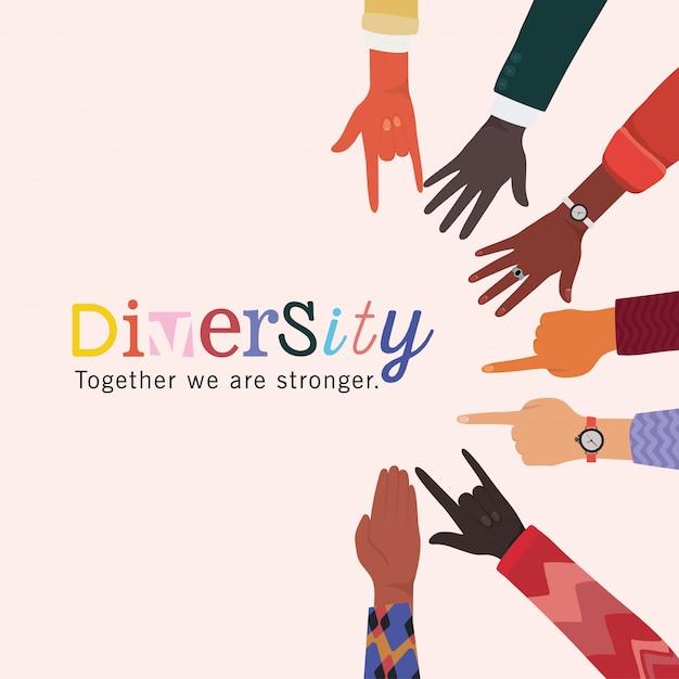 Juntos, somos mais fortes e somos mais fortes com o design dos sinais, pessoas, raça multiétnica e tema comunitário Vetor Premium