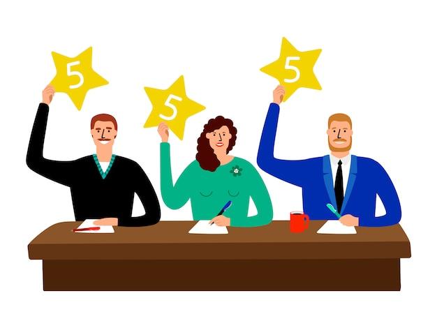 Júri do quiz. grupo de juiz de competição sentado à mesa e mostra a ilustração de cartões de opinião Vetor Premium