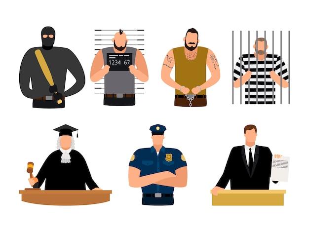 Justiça, prisioneiro e réu, policial, juiz e advogado Vetor Premium