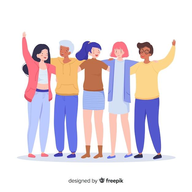 Juventude plana pessoas abraçando juntos Vetor grátis