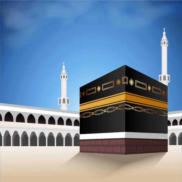 Kaaba para hajj mabroor em meca na arábia saudita. a peregrinação está do início ao fim da montanha arafat para eid adha mubarak. fundo islâmico no céu e nuvens. ritual hajj. Vetor Premium