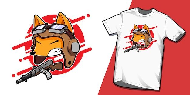 Kamikaze japonês tshirt modelo de design de personagens fox Vetor Premium