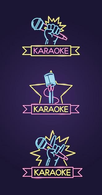 Karaoke diferentes no estilo neon com microfone sobre roxo Vetor grátis