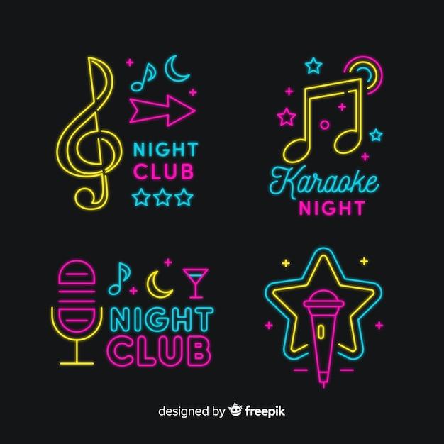 Karaoke noite bar coleção de sinal de luz de néon Vetor Premium
