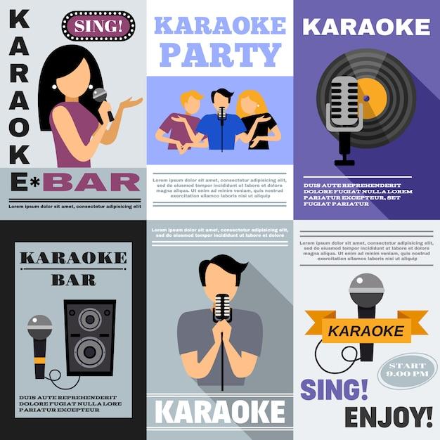 Karaoke poster set Vetor grátis