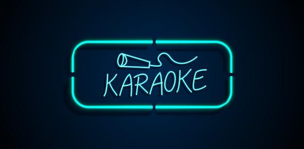 Karaoke sinal de néon Vetor Premium