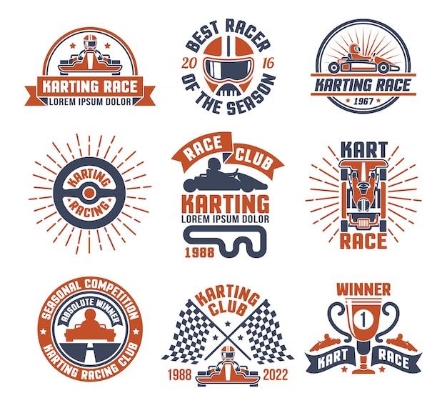 Karting motor race logo emblem set Vetor grátis