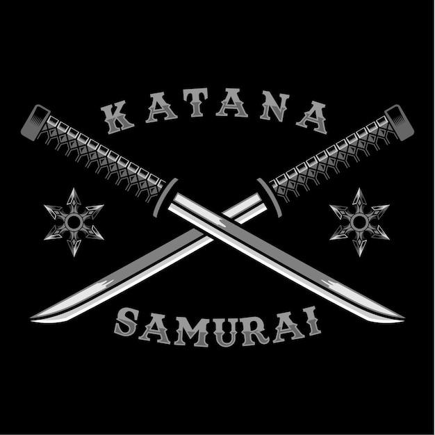 Katana cross samurai arma ilustração vetorial Vetor Premium