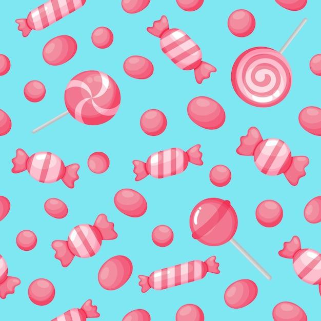 Kawaii bonito rosa doces doce sobremesas sem costura padrão Vetor Premium