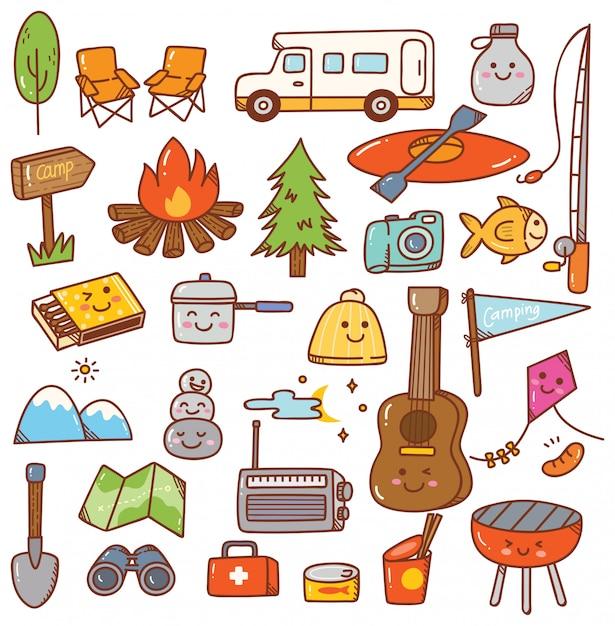 Kawaii camping conjunto de doodle Vetor Premium