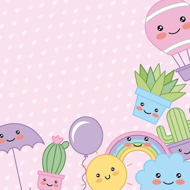 Kawaii cartoon canto decoração planta guarda-chuva sol nuvem Vetor Premium