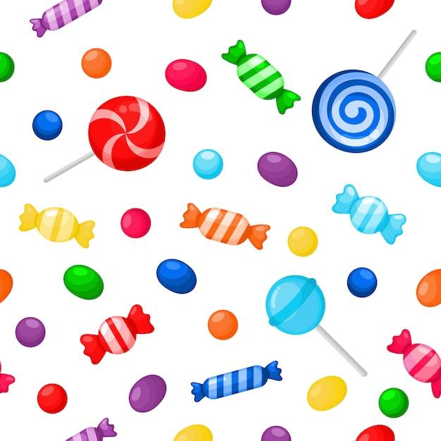 Kawaii cute candy doce sobremesas sem costura padrão Vetor Premium