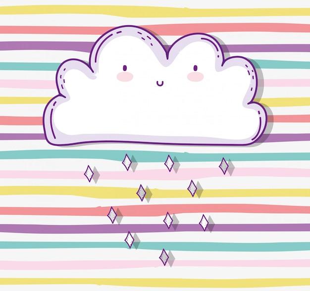 Kawaii cute cloud chovendo natureza tempo Vetor Premium