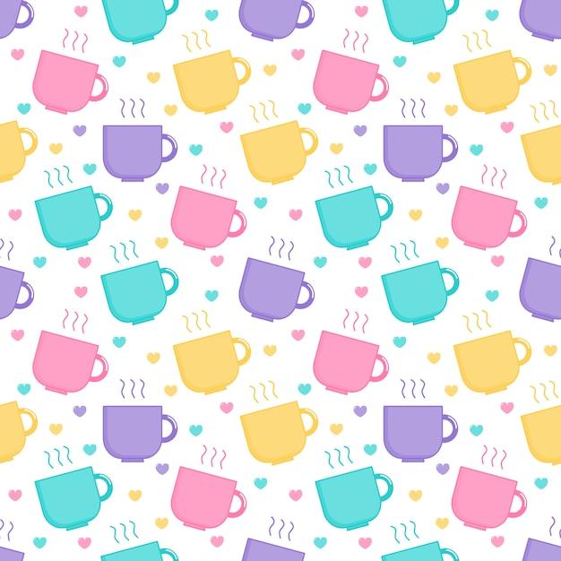 Kawaii cute pastel bonito café e xícara de chá cartoon padrão sem emenda Vetor Premium