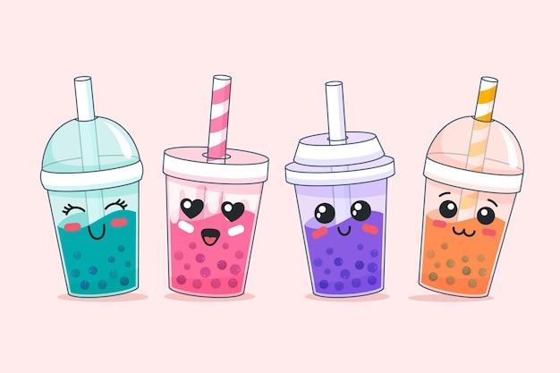 Kawaii design bubble tea Vetor Premium