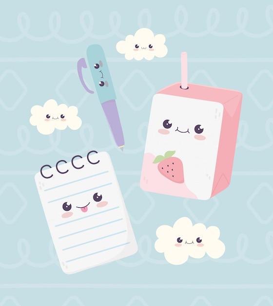 Kawaii escola bloco de notas caneta e suco caixa nuvens personagem dos desenhos animados Vetor Premium