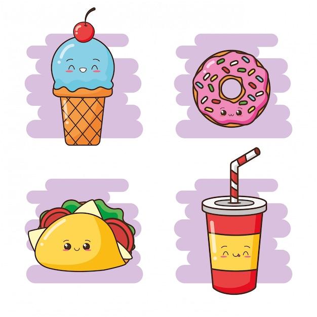 Kawaii fast-food bebida fofa, taco, rosquinha, ilustração de sorvete Vetor grátis