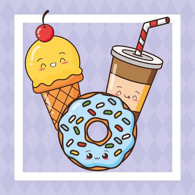 Kawaii fast-food comida fofa, sorvete, bebida, ilustração de donut Vetor grátis