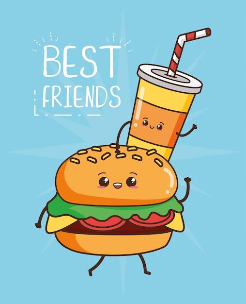 Kawaii fast-food hambúrguer bonito e ilustração de bebida Vetor grátis