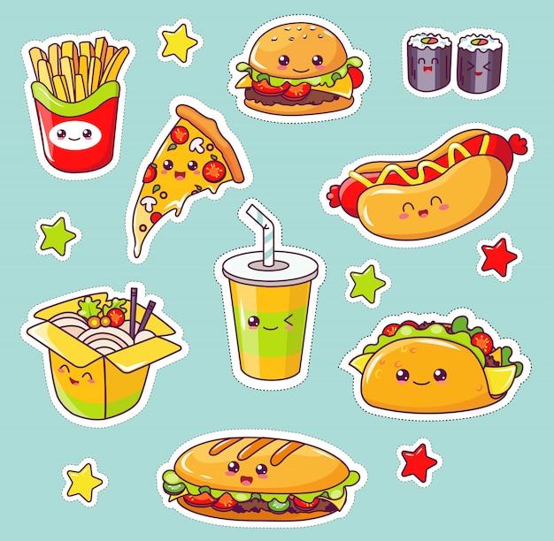 Kawaii fast food, junk comer saborosa refeição plana. Vetor Premium