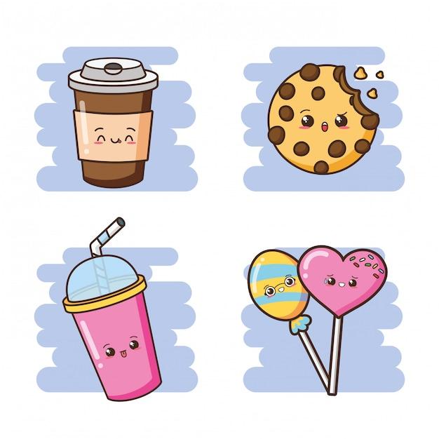 Kawaii fofo fast-food bebidas, biscoitos e pirulitos ilustração Vetor grátis