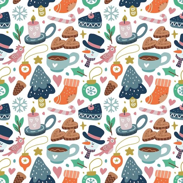 Kawaii fofo natal sem costura padrão em estilo escandinavo. pode ser usado para tecido, etc. Vetor Premium