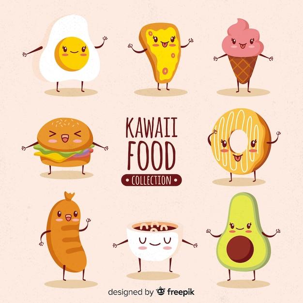 Kawaii food hand drawn collection Vetor grátis