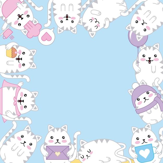 Kawaii gatinho adorável animais dos desenhos animados fronteira decoração Vetor Premium