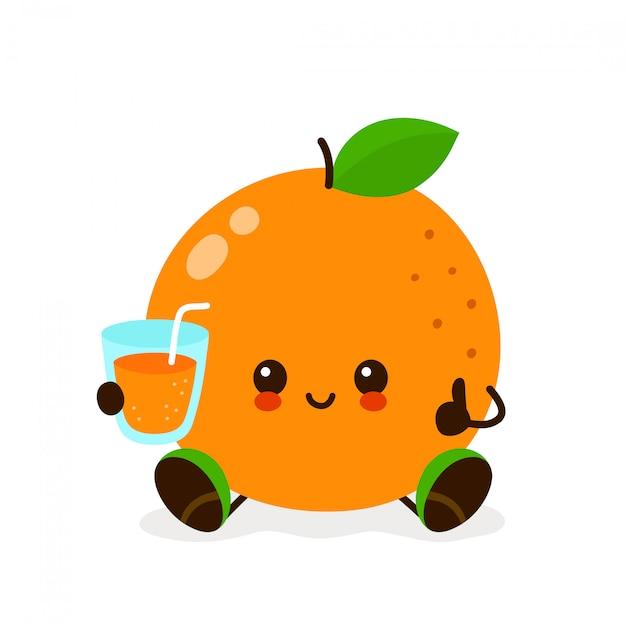 Kawaii laranja com um copo de suco Vetor Premium