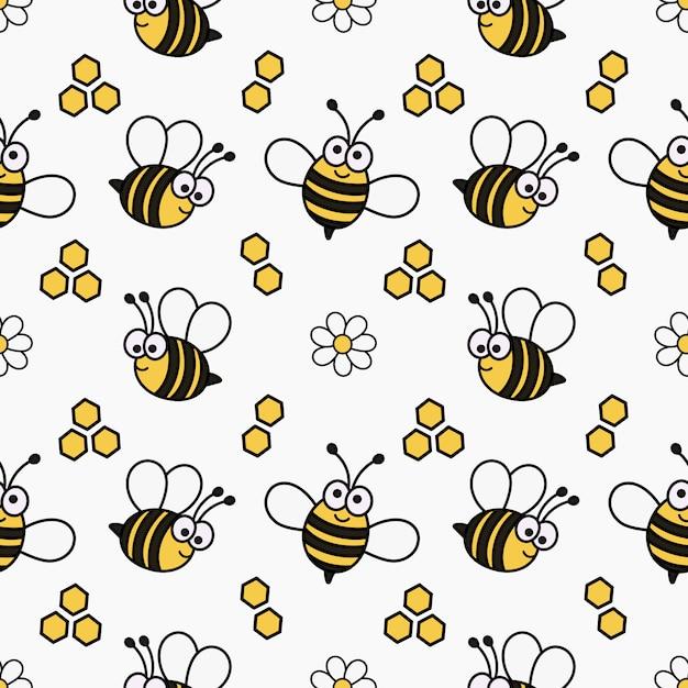 Kawaii seamless pattern bonito bebê abelha dos desenhos animados Vetor Premium