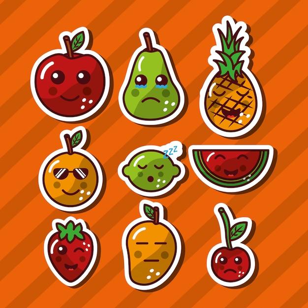 Kawaii sorrindo frutas comida adorável dos desenhos animados Vetor grátis