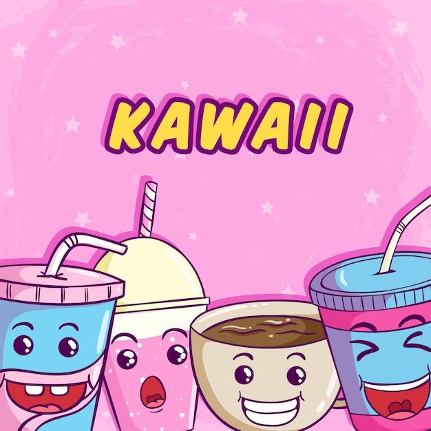 Kawaii sorvete, donut e fatia de bolo com rosto bonito Vetor Premium