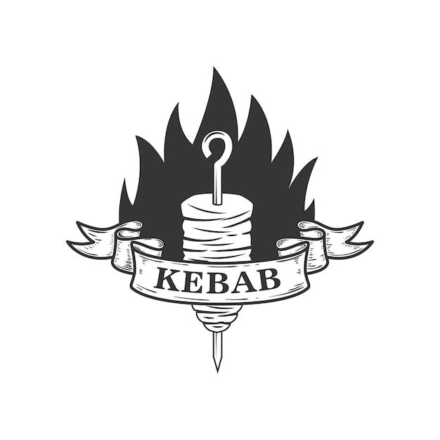 Kebab. elemento para o logotipo, etiqueta, emblema, sinal. ilustração Vetor Premium