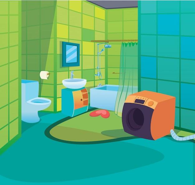 Kids bathroom interior cartoon crianças estilo fundo Vetor Premium