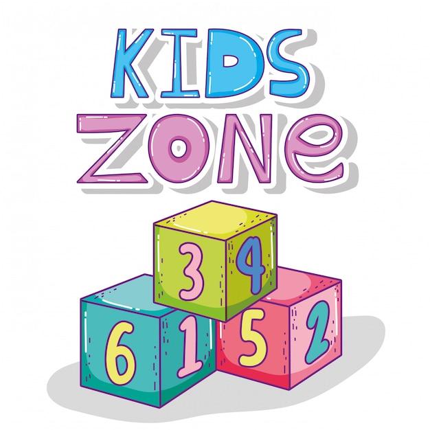 Kids play zone com jogo de cubos Vetor Premium