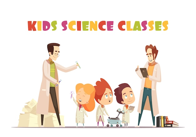 Kids science classes Vetor grátis