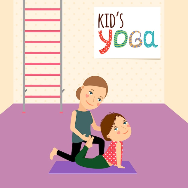 Kids yoga com instrutor Vetor Premium