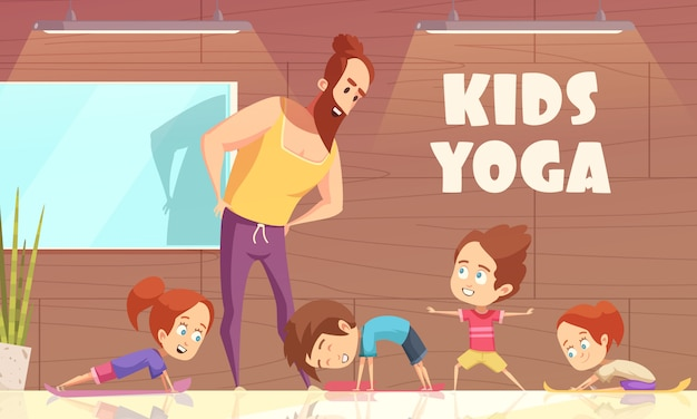 Kids yoga training Vetor grátis