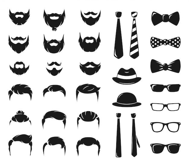 Kit de criação de retratos hipster. construtor monocromático com bigode masculino, barba e corte de cabelo Vetor Premium