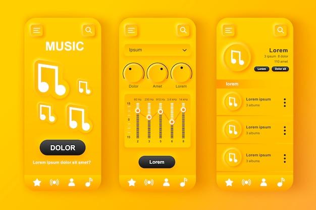Kit de design amarelo neumorfo exclusivo para leitor de música. Vetor Premium