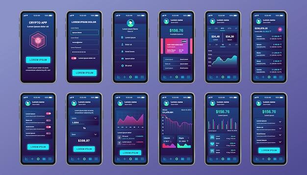 Kit de design exclusivo de criptomoeda para aplicativo móvel. telas de mineração de bitcoin com gráficos de progresso e análises financeiras. interface do usuário da plataforma de criptomoeda, modelos de ux. gui para aplicativos móveis responsivos. Vetor Premium