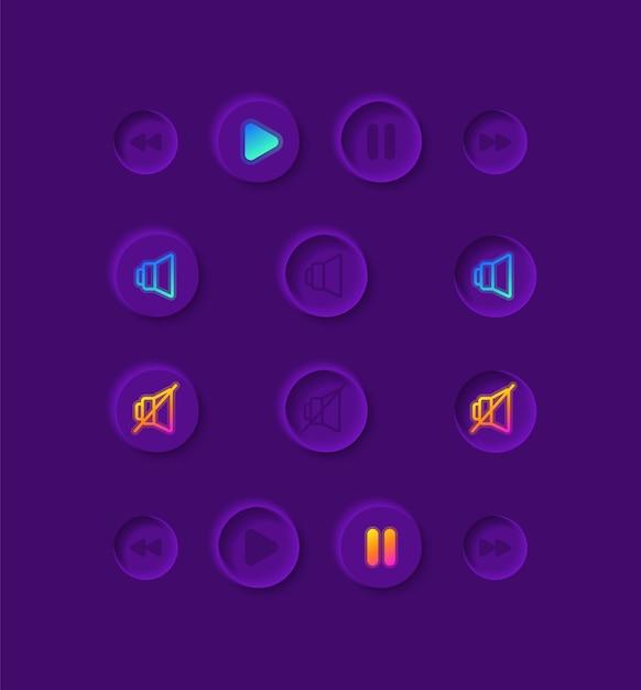 Kit de elementos da interface do usuário do music player Vetor Premium