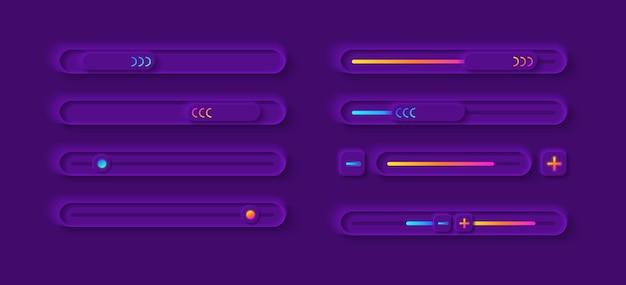 Kit de elementos da interface do usuário do painel de ajuste Vetor Premium