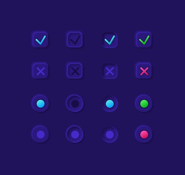Kit de elementos de iu das caixas de opções. ícone de confirmação e cancelamento, barra e modelo de painel. coleção de widgets da web para aplicativos móveis com interface de tema escuro Vetor Premium