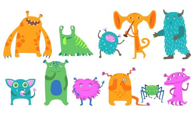 Kit de ícone de monstros dos desenhos animados Vetor grátis