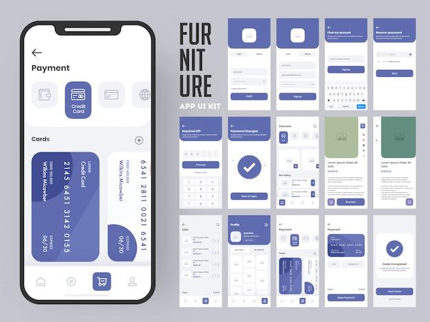 Kit de interface do usuário do aplicativo para móveis para aplicativo móvel responsivo ou site com várias telas como login, criação de conta, perfil, pedido e pagamento. Vetor Premium