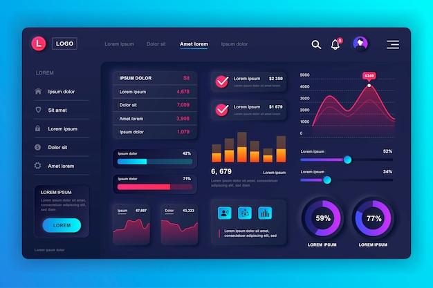 Kit de interface do usuário do painel neumórfico. modelo de painel de administração com elementos infográfico, diagrama de hud, gráficos de informação. painel do site para a página da web de interface do usuário e ux. estilo neumorfismo. Vetor Premium