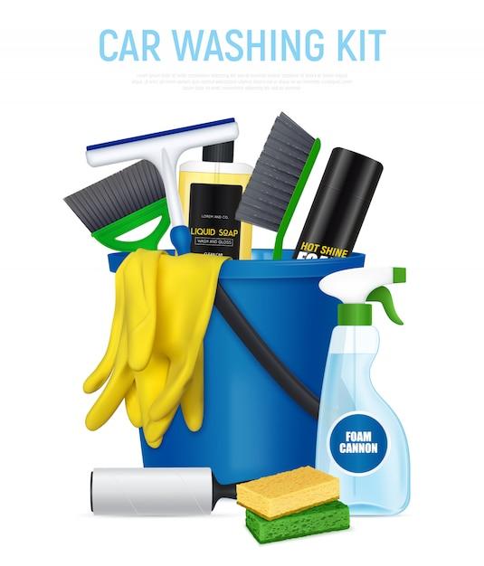Kit de lavagem de carro Vetor grátis