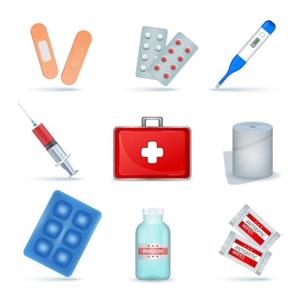 Kit de primeiros socorros fornece produtos médicos de emergência conjunto realista com lenços anti-sépticos de bandagem elástica Vetor grátis