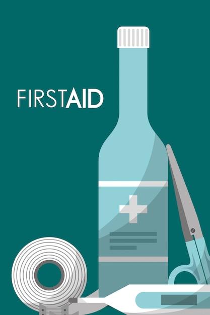 Kit de primeiros socorros medical health Vetor Premium